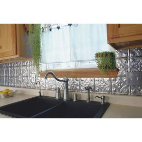 Fasade Traditional 1 18 5 In X 24 5 In Cross Hatch Silver Backsplash Panels Lowes Com Trendy Kitchen Backsplash Tin Backsplash Kitchen Tin Backsplash