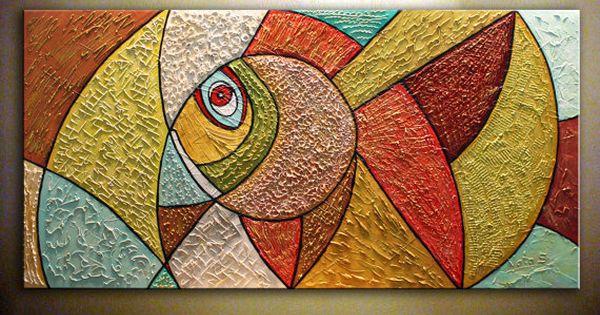 Original art abstract fish painting heavy por natasgallery for Minimal art resumen