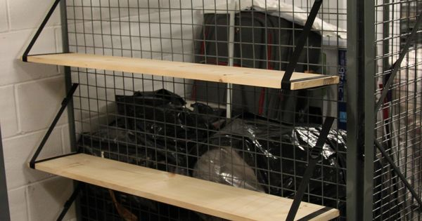 Attach shelves to the wire mesh walls tool free condo for Attach wire to wall