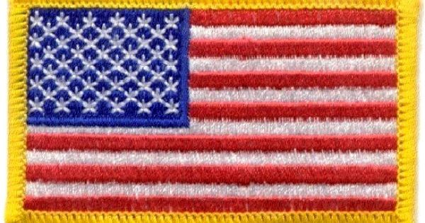 Crafts Embroidered Iron On Patch American USA Flag Yellow Edge