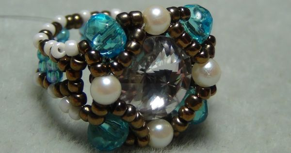 Shank button beaded ring tutorial love her tutorials for Buttons with shanks for jewelry