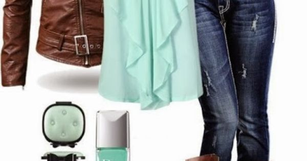 """Mint and Brown Bows"" Love this color combo. Fashion, fall, outfit, leather"