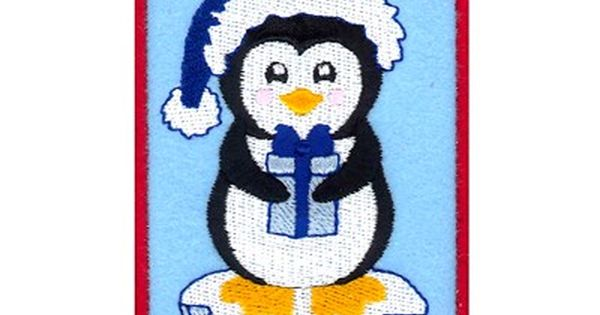 Penguin With Gift Card Holder Embroidery Design Gift Card Holder Animal Embroidery Designs Gift Card