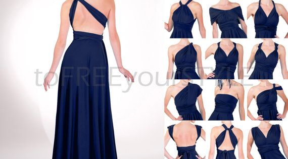 Long Infinity Dress In Light Navy Blue Shiny By
