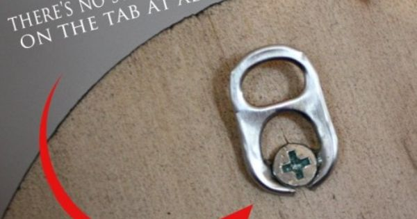 use a soda tab as a picture hanger