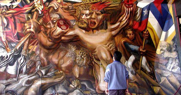Un mural del artista mexicano davidalfarosiqueiros for Mural mexicano