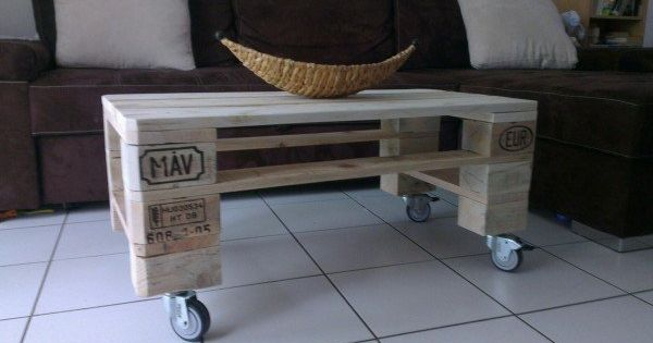 pallet coffee table table basse de salon en palette recycl e pallet ideas planters. Black Bedroom Furniture Sets. Home Design Ideas