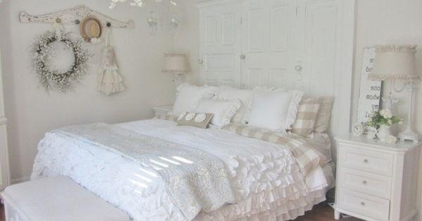 D Coration De La Chambre Romantique Shabby Chic Blanche Idees Chambres Shabby Pinterest