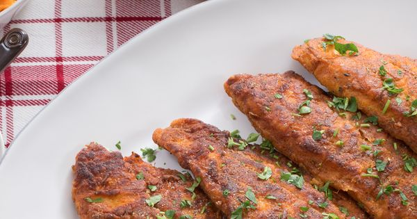 Cajun Fried Catfish & Collard Greens with Mashed Sweet Potatoes ...