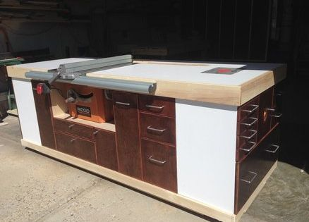 Mobile table saw cabinet rolling workbench pinterest for Table saw workbench woodworking plans