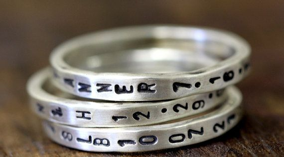 Perfect Mother's Day gift. Custom Stamped Sterling Silver Ring Thin Band by