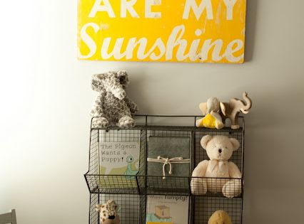 NURSERY:: DECOR, NEUTRALS WITH BRIGHT ACCENTS ~~ ChicHomeBaby.com: Gray Yellow Elephant Nursery.