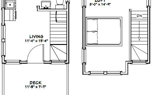12x16 tiny house --  12x16h6 -- 367 sq ft