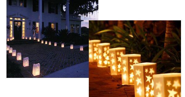 Decoraci n para boda con velas en bolsas de papel - Decoracion con velas ...