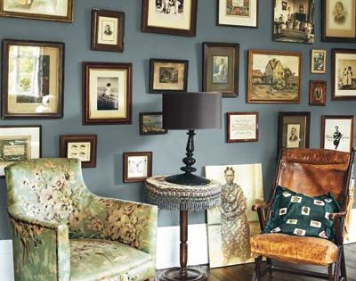 Wall color option for the living room Saturated blue/gray walls adorned with