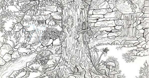 because i like to color fairy garden coloring page for the little ones and grown ups art n. Black Bedroom Furniture Sets. Home Design Ideas