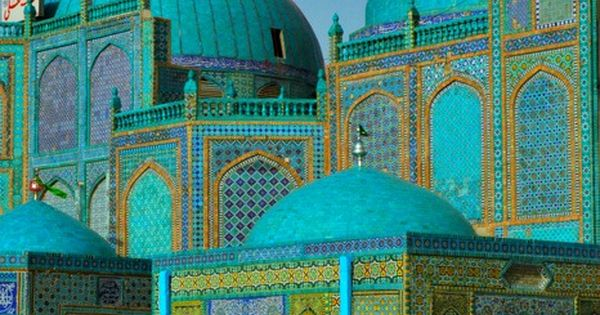 Beautiful colors in this building. The magnificent Blue Mosque at Mazar e