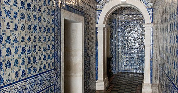 Azulejos (blue tiles) at the chapel of the Convent d'Alcobaça, Portugal