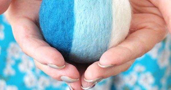 DIY needle felted rattle ball - wonderful idea for a handmade baby