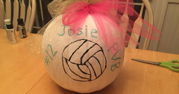 Volleyball painted pumpkin diy pinterest ideas