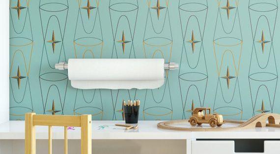 Peel-and-Stick Removable Wallpaper Mid Century Modern Atomic Mod Retro Geometric