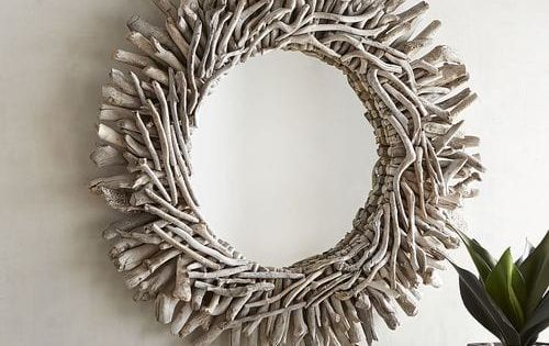 Whitewashed Driftwood 31 Round Mirror Pier 1 Imports Driftwood Mirror Coastal Wall Decor Driftwood Wall Art