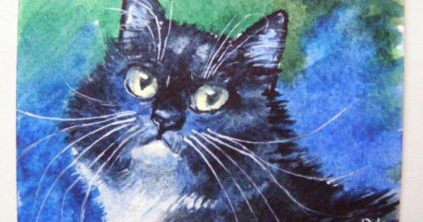 Original Aceo Watercolor Black Cat Painting Art By Ukraine Artist Free Shipping Black Cat Painting Cat Painting Cat Illustration