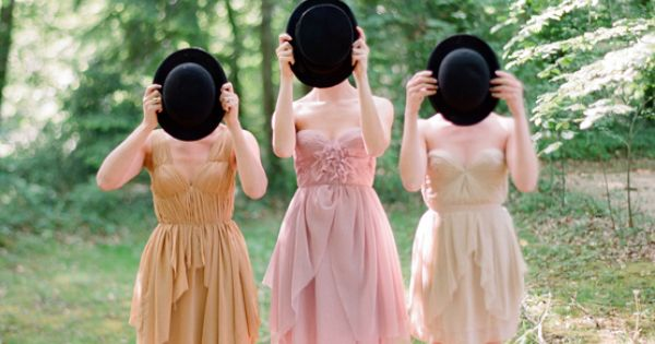 Warm/muted bridesmaid dresses. Plays off ombre idea without being too literal. Each