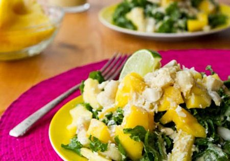 Tropical Mango, Banana, Pineapple Kale Salad with Creamy Pineapple Lime Coconut Dressing: