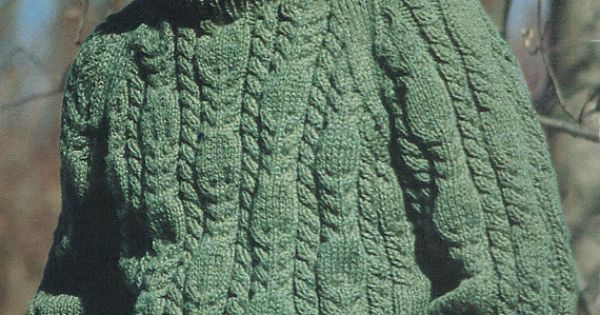 Knitting Pattern Chest Sizes : Knitting Pattern Mens Cable Knit Crew Neck Sweater Chest Sizes 34 36 38 ...