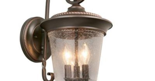 Hampton Bay 3 Light Oil Rubbed Bronze Vanity Light With: Hampton Bay 3-Light Outdoor Oil Rubbed Bronze Wall Lantern