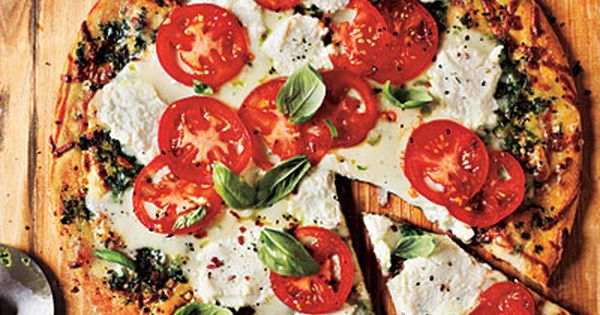 Cooking Light's White Pizza with Tomato and Basil- ready in 20 art