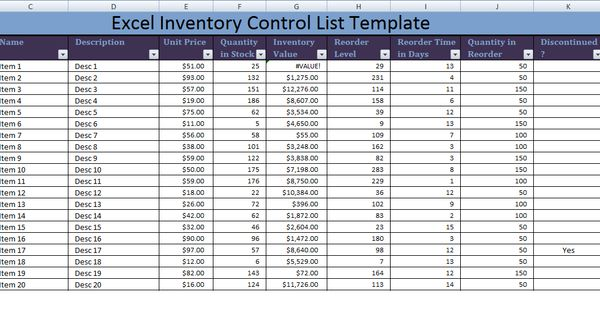 excel inventory control list template xls