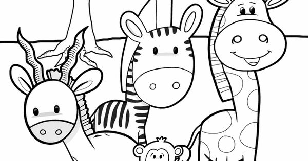 animal coloring pages for kids: safari friends