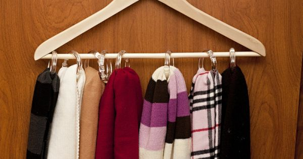Scarf Storage Wooden Hanger And Shower Curtain Rings Scarf