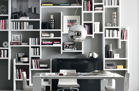 CROSSING - Hanging shelving to provide a light visual feeling for this