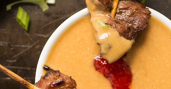 Beef Satay Skewers with Peanut Dipping Sauce | Recipe | Appetizer ...