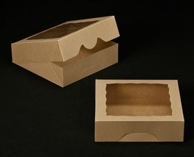 2241 9 X 9 X 2 1 2 Brown Brown With Window Timesaver Box With Lid Cookie Box Pie Box Cupcake Boxes