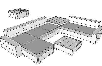 Tuinset in 3d formaat om van steigerhout zelf te maken for Zelf loungeset maken