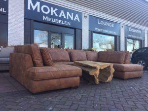 Diepe Lounge Hoekbank Xava U Vorm Van Easy Sofa In Cognac Leder Hoekbank Bankstellen Lounge