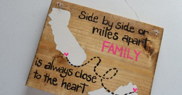 Hand Painted Long Distance Family Wood Sign 5x7 State