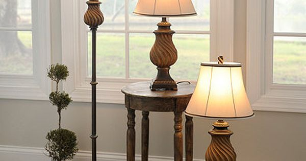 Toffee Wood Floor And Table Lamps Set Of 3 Floor And Table