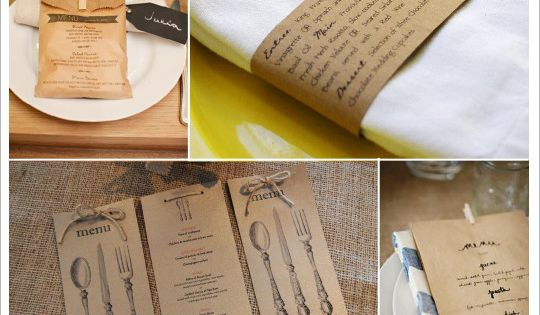 menu mariage vintage retro sac papier kraft rond serviette couverts id es d co mariage. Black Bedroom Furniture Sets. Home Design Ideas