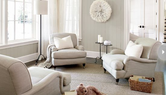 Living Room With Neutral Color Palette Jute Rug Grays