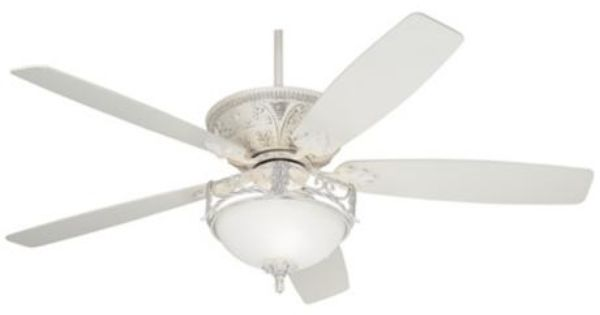 """60"""" Casa Vieja Montego Rubbed White Ceiling Fan With Light"""