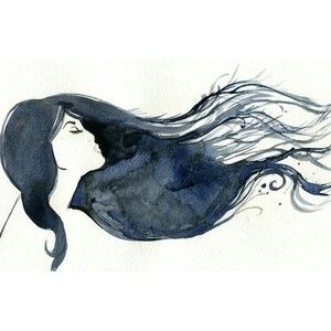 Girl With Hair Blowing In The Wind Fashion Illustration