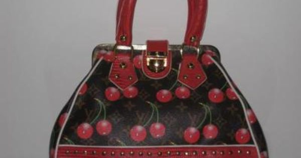 Louis Vuitton Red Leather Murakami Rare Cherry Bucket Handbag