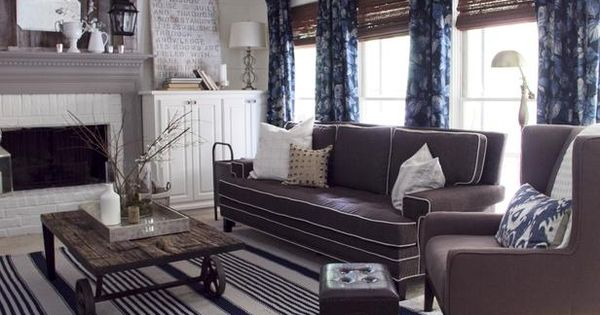 Gray And White Transitional Rustic Living Room With: Cottage Style Living Room, Slightly Masculine, Gray, White
