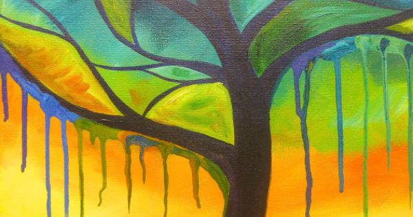 Peaceful Tree Painting With A Drips Drips Drips This Calm