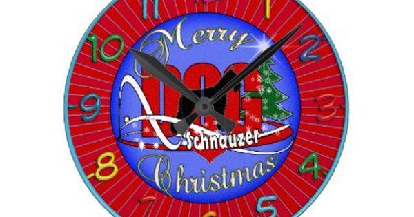 Schnauzer Merry Christmas Round Clock Xmas Christmaseve Christmas Eve Christmas Merry Xmas Family Kids Gifts Holi Merry Christmas Diy Clock Christmas Designs